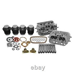 VW 1600 DUAL PORT TOP END REBUILD KIT, 88mm THICK-WALL CYLINDER, STOCK HEADS